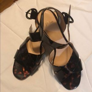 NWOT JCrew blocks heeled tortoise sandals